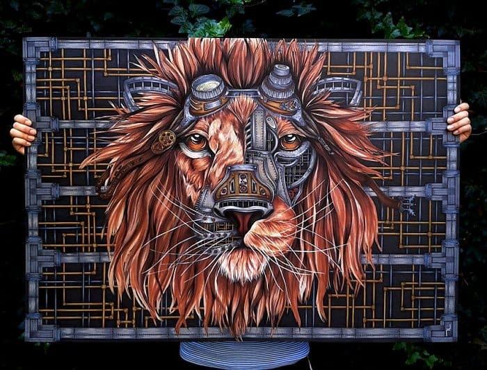 steampunk lion paula duta end result