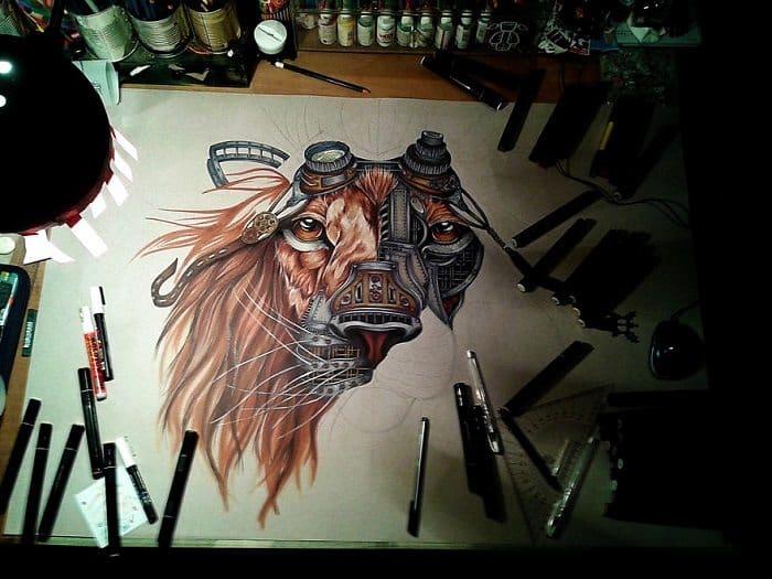 steampunk lion paula duta mane