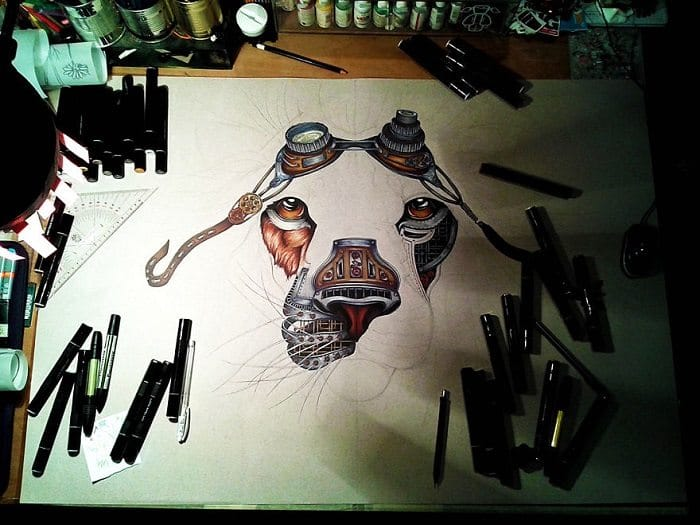 steampunk lion paula duta taking shape