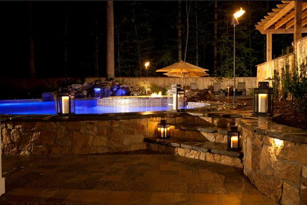 stone surround pool