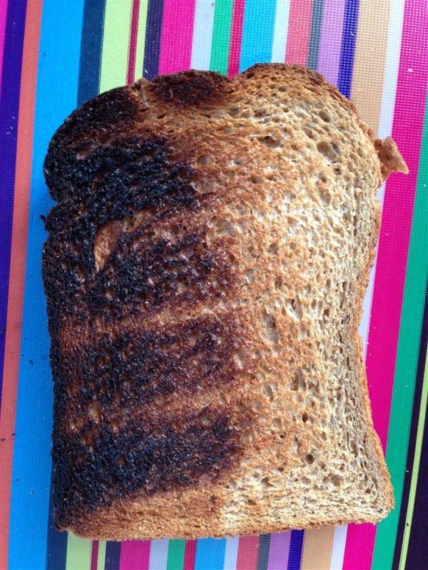 toast is half burned half still bread