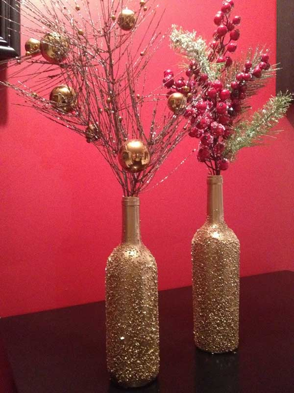 19 simple diy christmas decoration ideas you will love for Wine bottle vase ideas