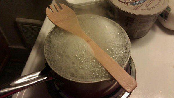 wooden spoon boiling water