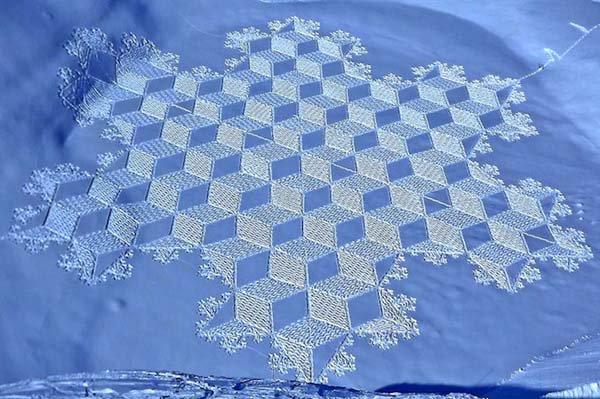 3d squares snow pattern