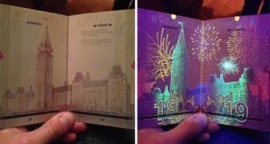 Canada's UV Passport hidden images
