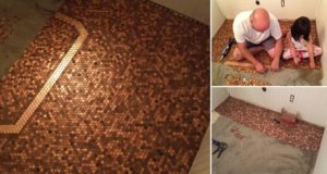 Floor Made with Pennies