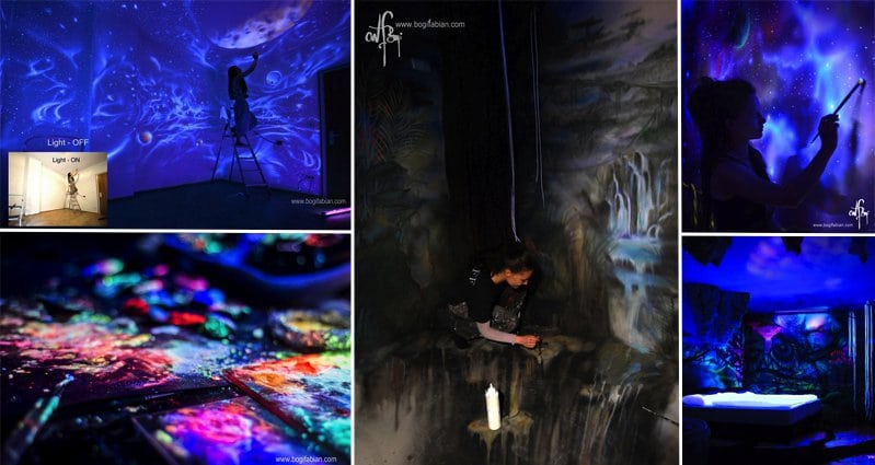 Artist Creates Incredible Dreamscape Murals Which Glow In