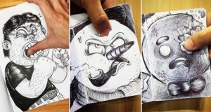 fighting with cartoon drawings