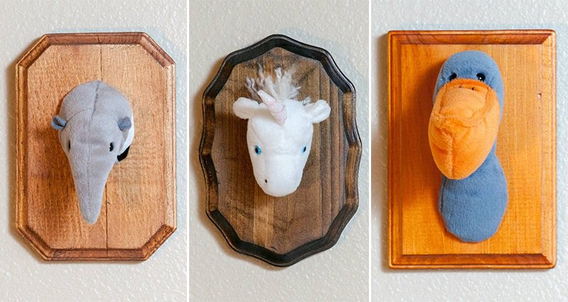 this guy preserved some old stuffed toys as works of taxidermy style art