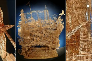 rolling through the bay toothpick Sculpture