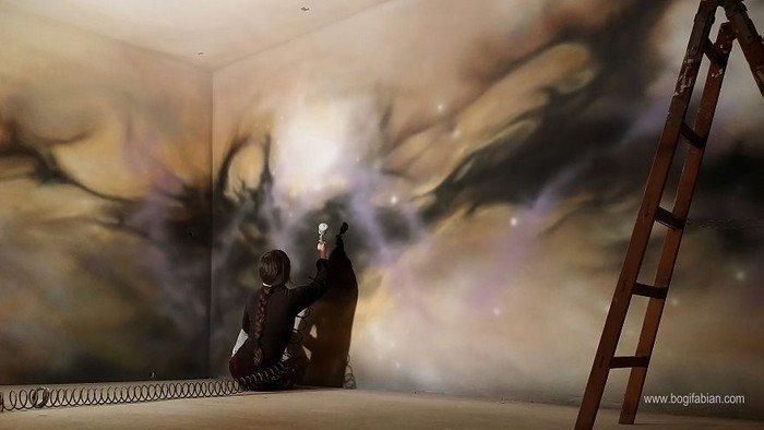 artist paints living room