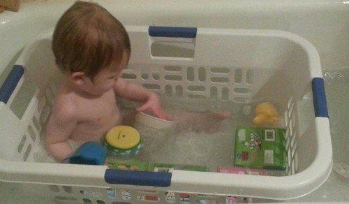 baby laundry basket bath
