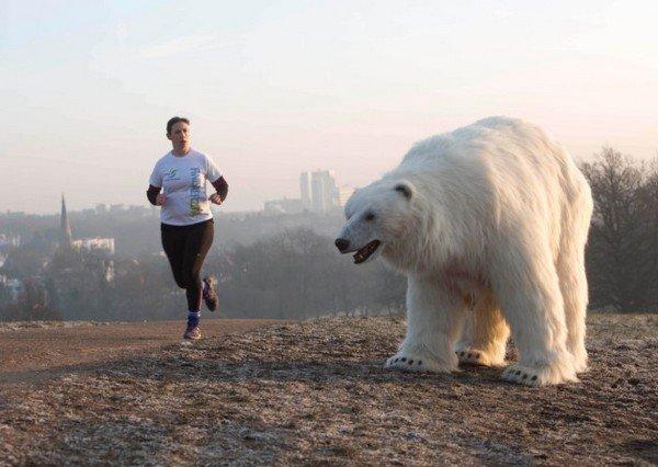 huge polar bear terrifies citizens of london u k. Black Bedroom Furniture Sets. Home Design Ideas