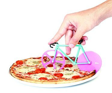 bicycle pizza cutter pink green