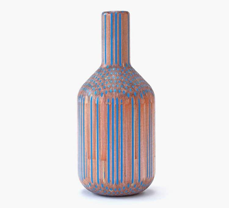 blue orange pencil vase