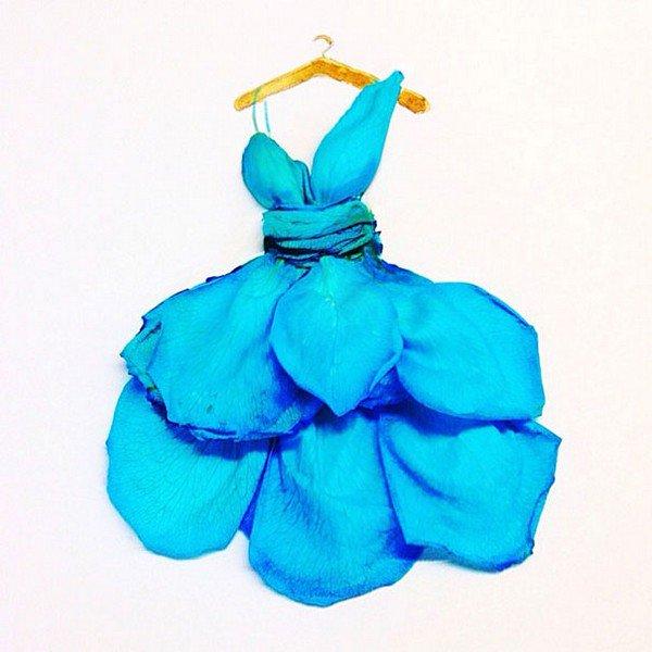 blue petal dress