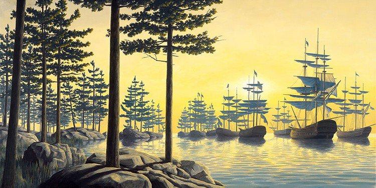 boats river trees