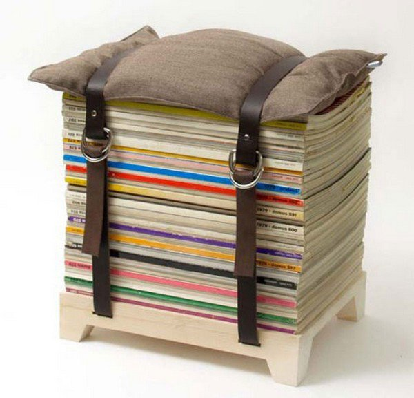 book pile stacked cushion