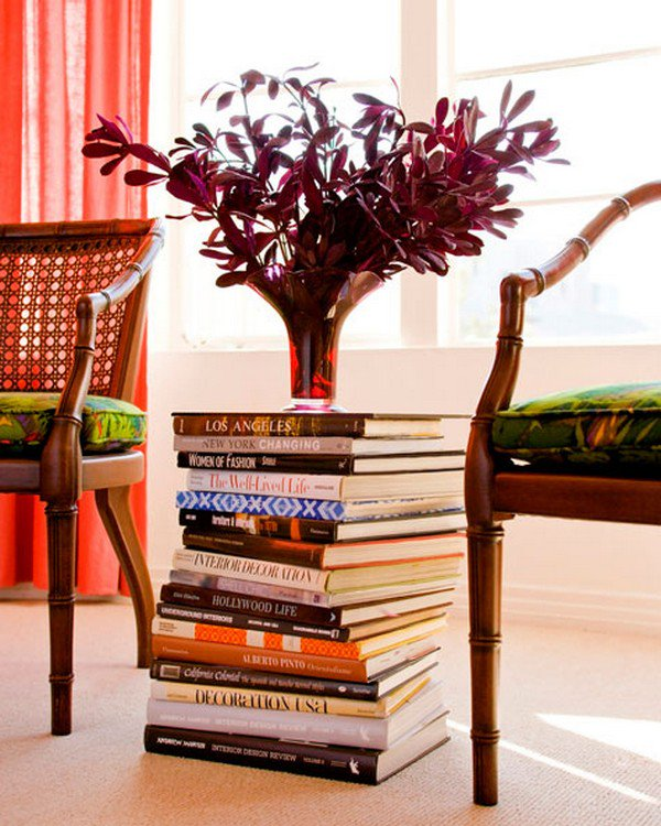 book stack flowers