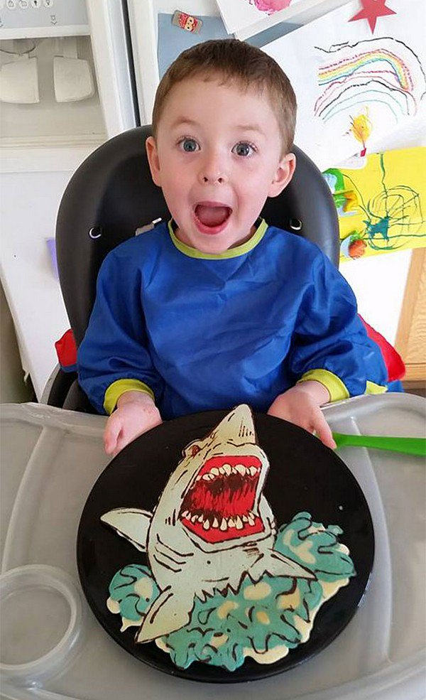 boy shark pancake