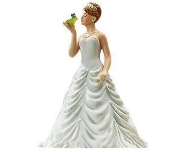 bride kissing frog cake topper wedding