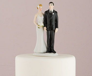 bride pinching groom cake topper front