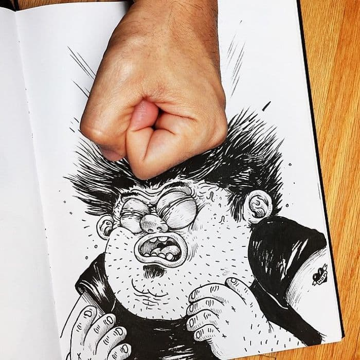 This Artist Actually ''Fights'' With His Drawings