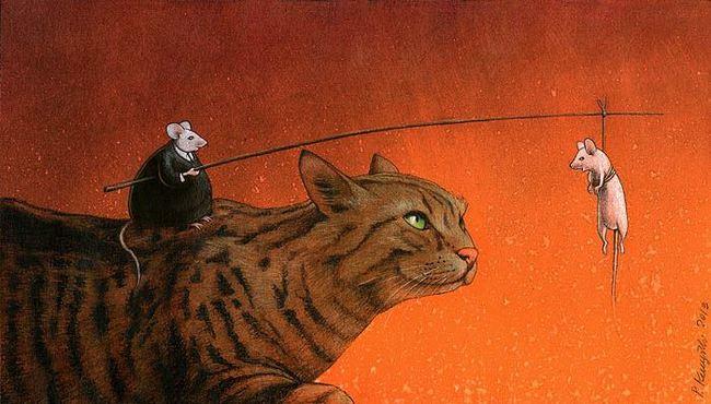cat mice fishing