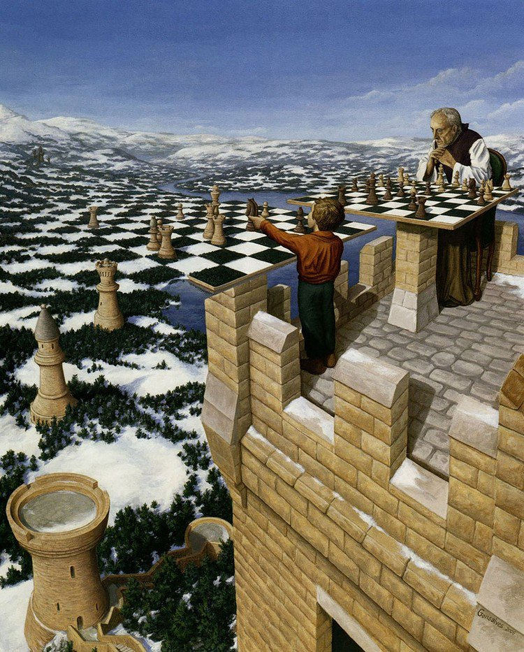 chess set countryside