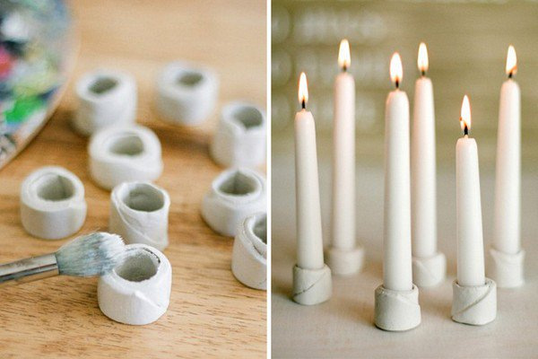 clay candle holders