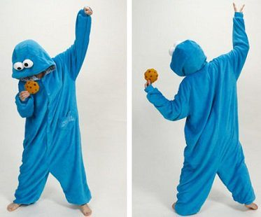 cookie monster onesie front back