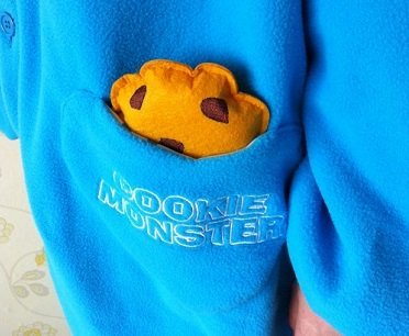 cookie monster onesie pocket