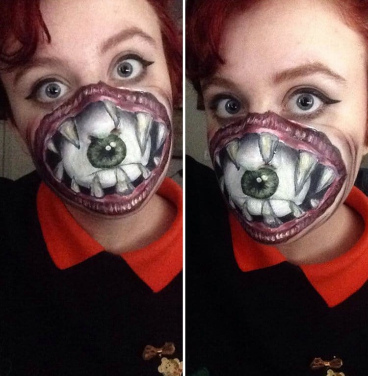 This girl 39 s use of face paints is both creepy and awesome for How to apply face paint