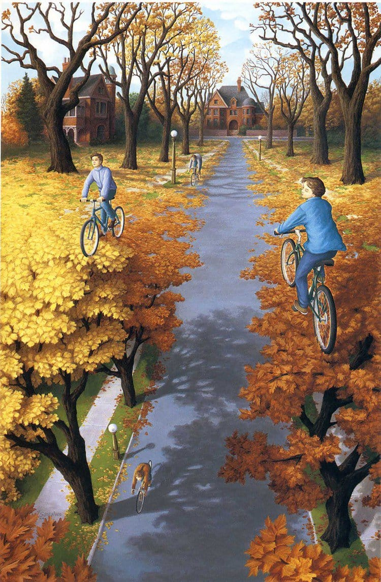 cycling floating treescape