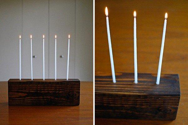 dark wooden block candles