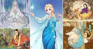 eastern disney character illustrations
