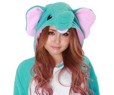 elephant onesie hood