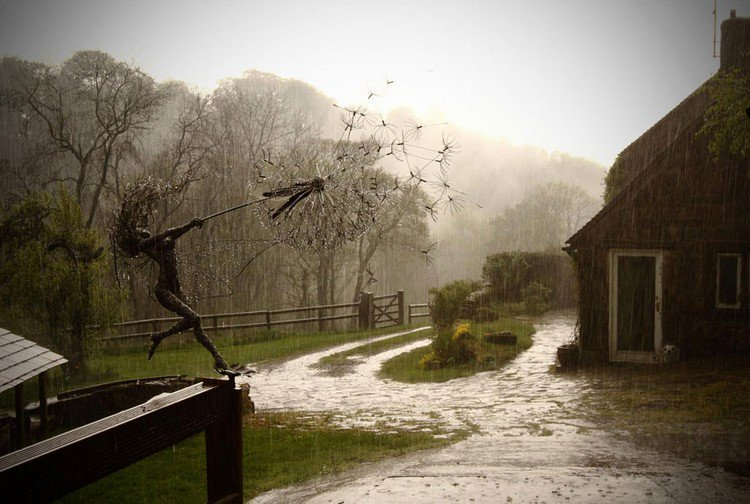 fairy dandelion clock rain