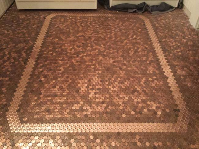 Penny Floor Instructions Floor Finished Tiles Pennies