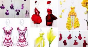 flower Petal Fashion Illustrations