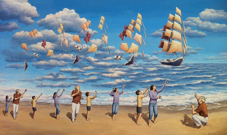 flying kites boats people