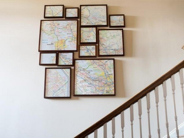 framed maps wall