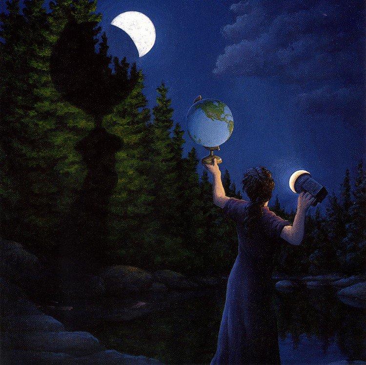 globe moon shadow