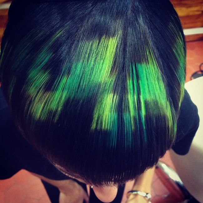 green black pixelated hair