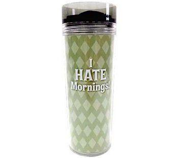 grumpy travel mug i hate mornings green