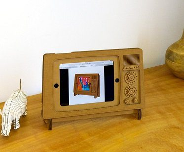 iPad tv stand brown case