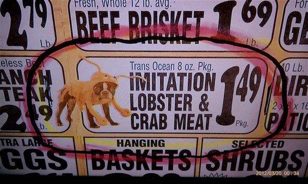 imitation meat sign