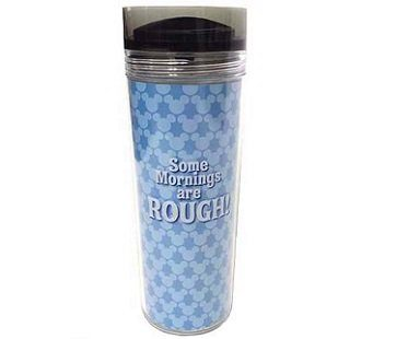 mickey mouse travel mug mornings are rough blue