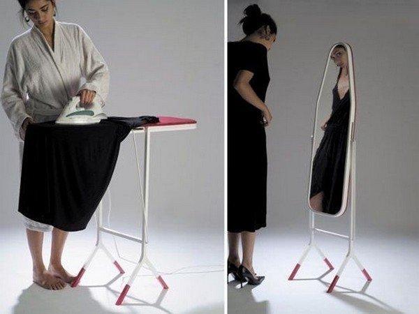 mirrored ironing board