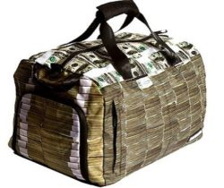 money stacks duffle bag